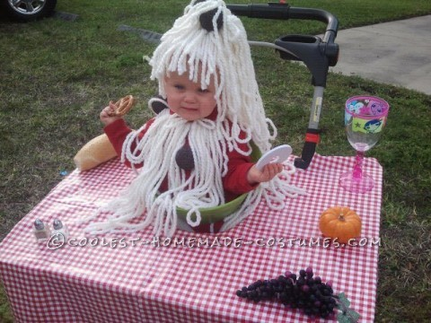 Infant spaghetti meatballs costume are