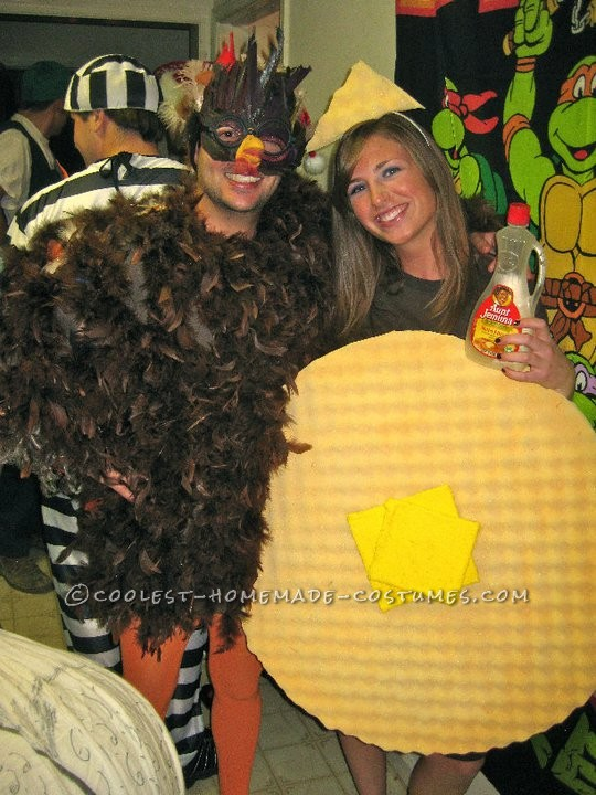 """My girlfriend and I were inspired to be """"Chicken and Waffles"""" for halloween by our nearby Chicken and Waffle Restaurant called Last Legg which used"""
