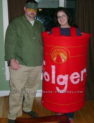 Walter and Donny from Big Lebowski. Donny is obviously in cremated form in the Folder\'s can. Took two wooden hoops and attached red felt. Puff pai