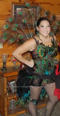Peacock costume complete with tail fan, garter, corset, bustle & even shoes you can't see!!