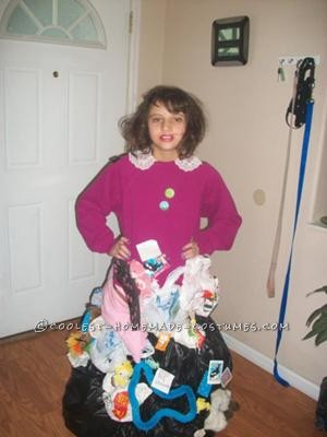 This is my Hoarder costume my mom made. We came up with the idea because one of our favorite shows is Hoarders. We went to several garage sales and