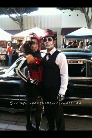 Coolest Home made female pinup male groom Day of the Dead couple costume<br /> For my girlfriend's costume: Her costume was for a day of the dead pinup c
