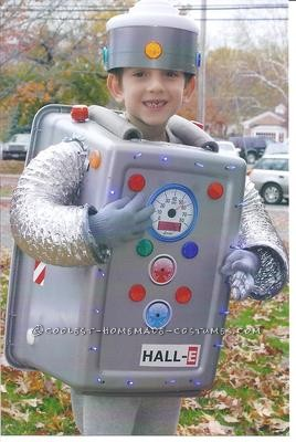 We followed directions provided on this website to create our son\'s very cool robot costume.  His costume was such a hit that he led the elem