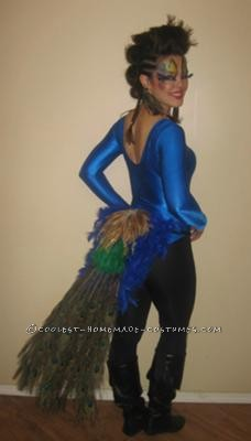 I had been anticipating this peacock costume for a whole year. I love peacock feathers and figured this would be a great idea to have some cool make-
