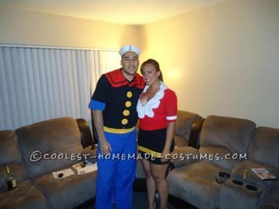I wanted to make a costume for a young-sexy Olive Oyl costume and Popeye. I wanted to make a fun, sexy version of Olive oyl. All of the materials for