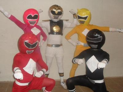 Power Rangers (minus Billy the Blue Ranger who was still at work)