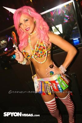 This costume was inspired by my sheer LOVE of candy. The entire costume aside from the stockings was made entirely of candy or from its wrappers. I w