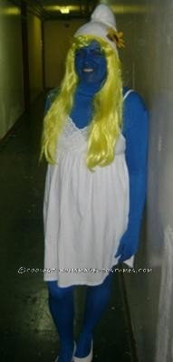 I wanted to do something different last year so I though of Smurfette costume. It was very easy to make I went and purchase a Full Body Spandex Suit