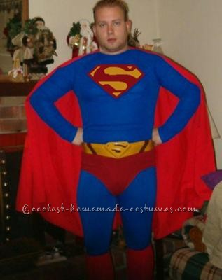 "This is a Superman Costume I made from athletic spandex. I purchased a blue warm-up shirt and pants from a sports store and had a Superman ""S\"""