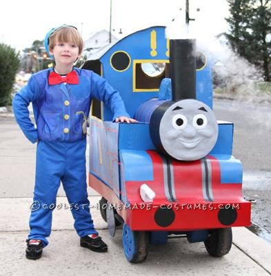 This is the Thomas the Tank Engine costume I made for my son this past Halloween. The chassis is a Little Tykes wagon, with the pull handle at the ba