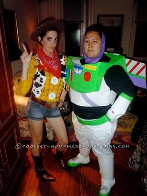 My wife and I made these Woody and Buzz Lightyear costumes from Toy Story with some help from a friend. It was a blast getting recognized while we we