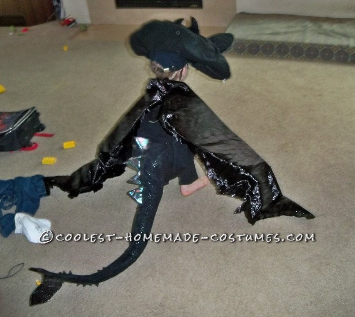 I made this for my 4 year old son. The shirt and pants are just black sweats. The dragon Toothless, the main dragon, from the movie How to Train a Dr