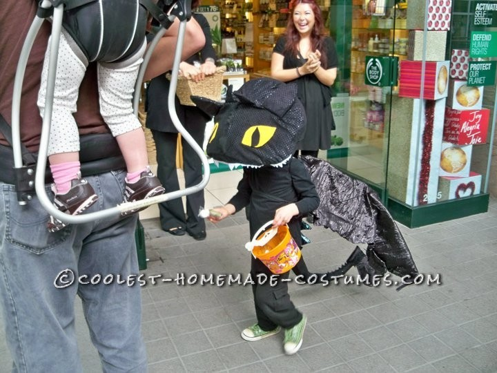 trick or treating in dragon costume