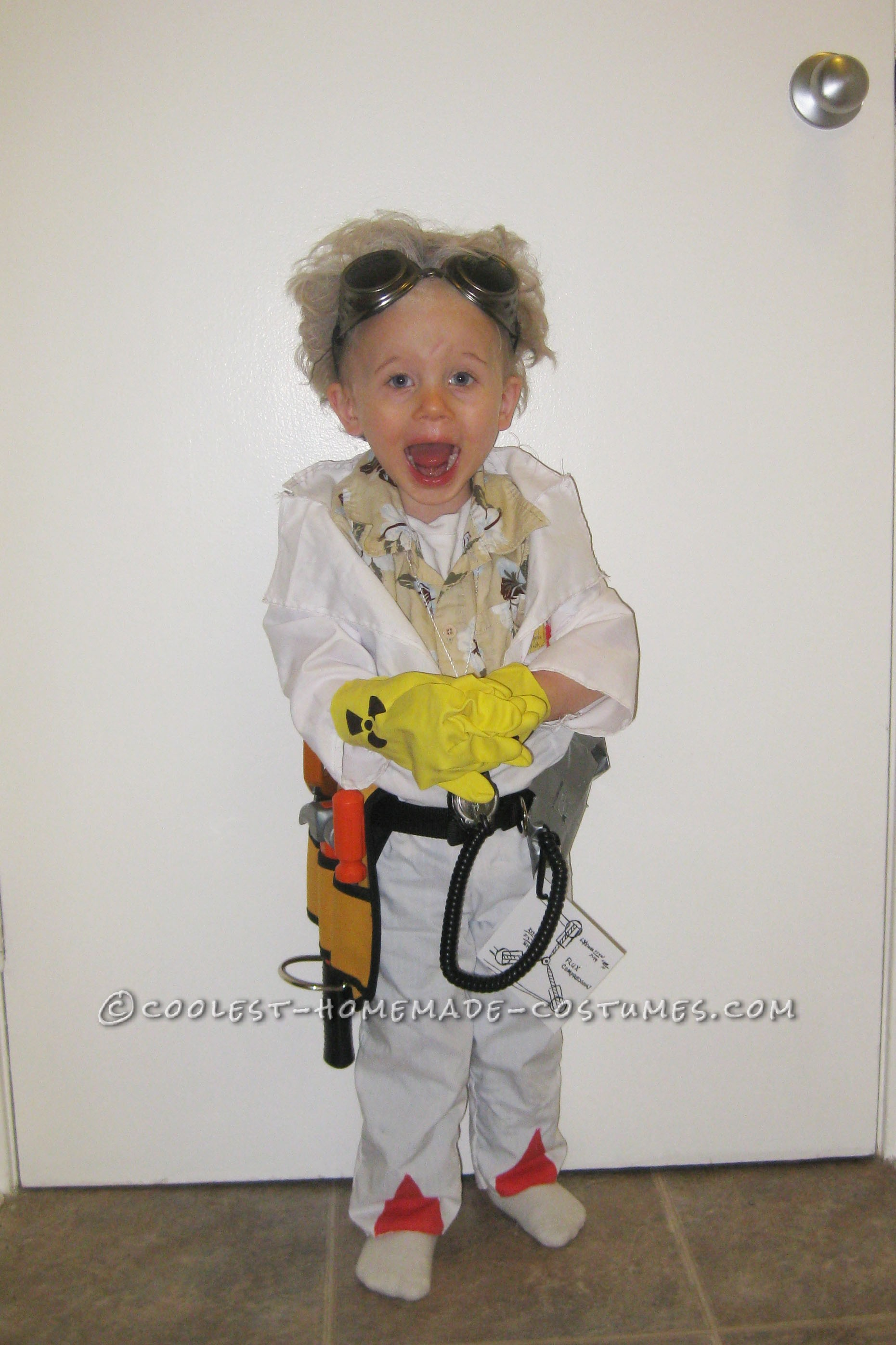 great scott! what a costume! it's 2-year old doc brown from back to