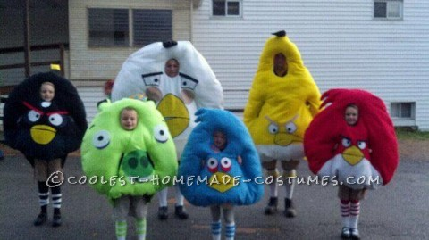 These Anrgy Birds costumes took hours and hours to make, but so worth it! It all started when my son, age 5, became obsessed with the Angry Birds gam