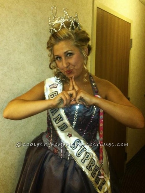 The TV show Toddlers and Tiara's was my inspiration for this Halloween Costume. To achieve this look I took an old floor length bridesmaid dress too