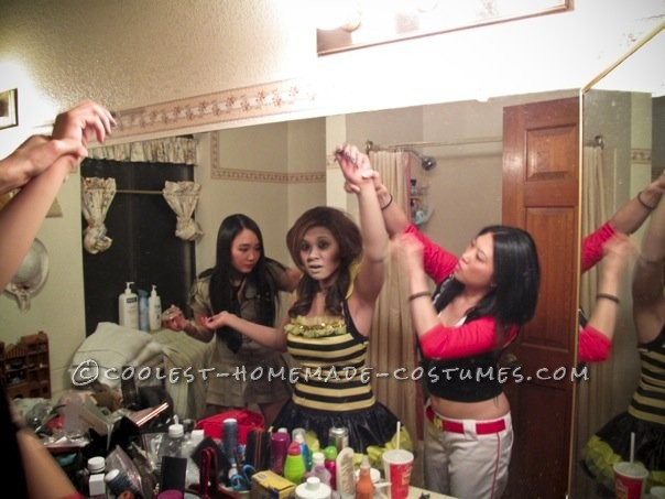 A few friends helping me apply makeup
