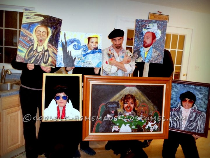 "We do a group costume every year and in 2010 we went as an Artist and his collection of ""copied"" paintings :) Each person painted their"