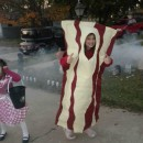 My daughter 9 year old daughter loves bacon so much she asked if she could be BACON for Halloween. At first I thought she was joking but after