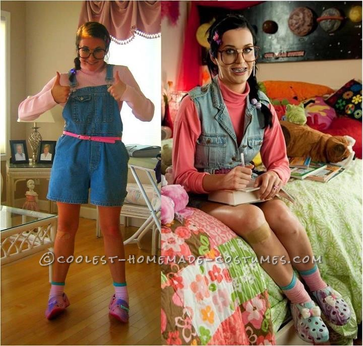 """In Katy Perry's """"Last Friday Night"""" music video, she doubles as the nerd who throws a party, Kathy Beth Terry -nerd glasses w/ bandaid in between"""