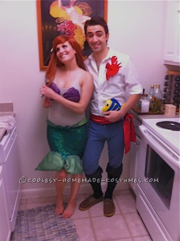 We had two parties to attend both having themes, one was 80's and the other Royalty, We had the perfect costume idea, Little Mermaid and Prince Eric