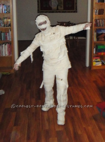 Well, I wanted to be a mummy, fresh from the sarcophagus, so I went to the local thrift store and I got some old white sheets, khaki pants, and cream
