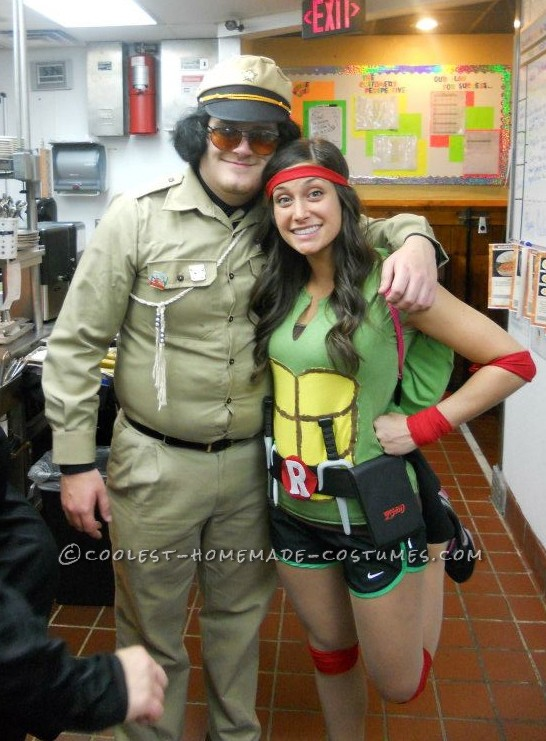 I created this Ninja Turtle costume for my friend and I last year.  It was by far my favorite halloween costume I\'ve ever worn.  We were