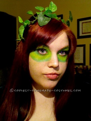 I created this costume very easily in just a couple days... All materials included, a multi-shade green eyeshadow, Silk Ivy from a dollar store