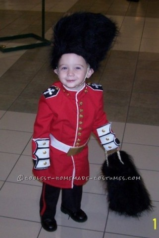 We made my three year old son aHomemadeRoyal English GuardCostume for Halloween. I used red material and sewed it into a long, fitt