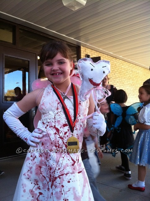 My daughter who was 7, always wanted to be something scary for Halloween like her 4 brothers.  Being the only girl of the bunch, I wanted her to