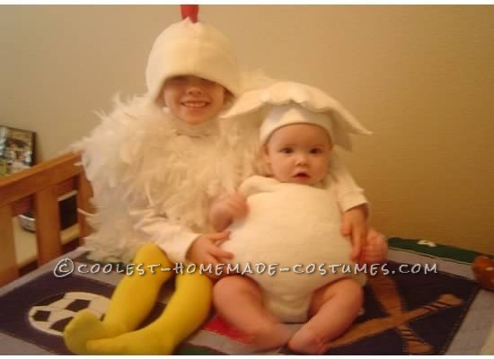 Which comes first the chicken or the egg? That question may be impossible but these costumes are pretty simple to construct. The chicken is just a sh