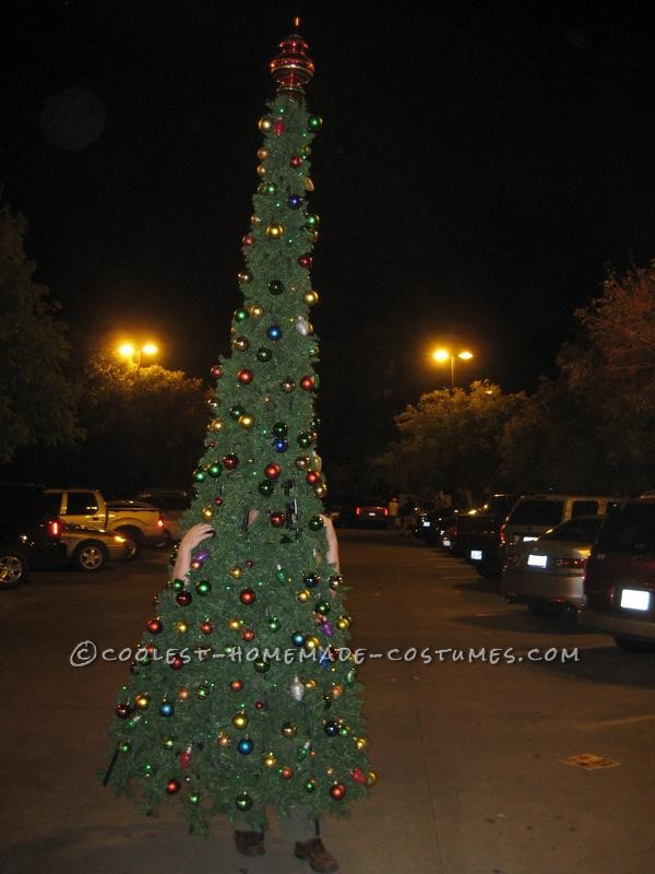 The constuction; This is a 13 foot tall fully lit Christmas tree with 280 ornaments.