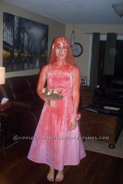 I love making my costumes every year.  I decided to go as Steven Kings Carrie.  So much fun to make.   I was so lucky to find a p