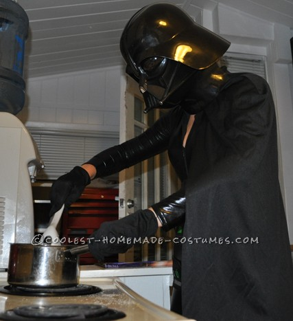 Darth cooking a healthy dinner
