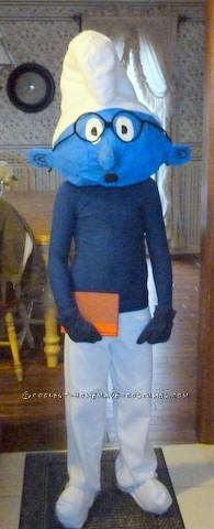 Coolest Homemade Papier-Mache Smurf Halloween Costume