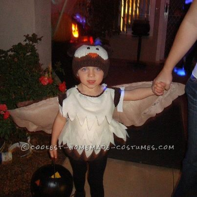 """This owl costume started with one thought in mind """"i will not buy a costume this year because they are WAY too expensive!!"""" It took about 2 months"""