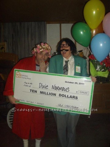 The best part of this costume was making the GIANT check! It was also the most time consuming part. We toyed with names for the check for a couple we