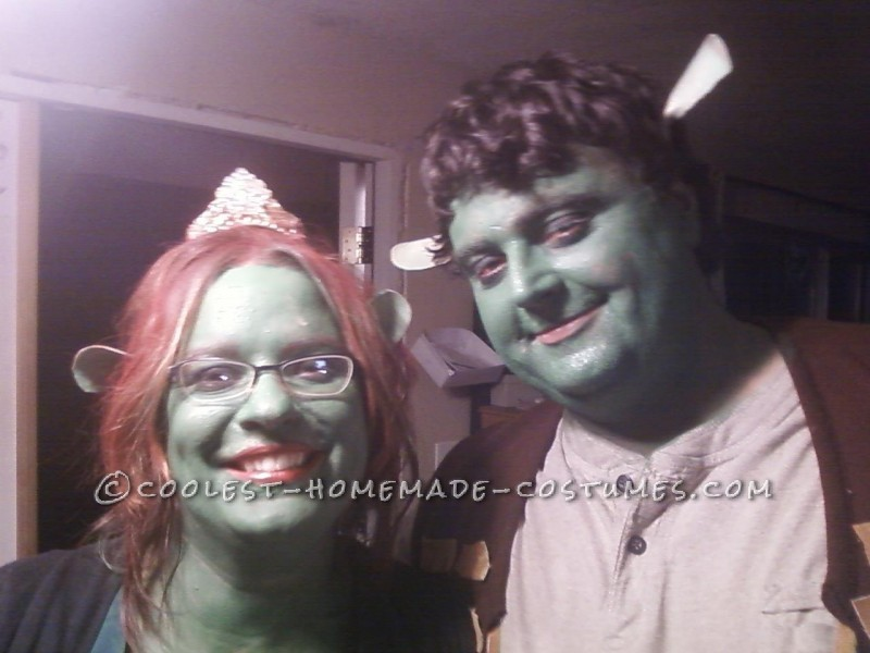I thought long and hard about what to be for halloween. Shrek and Fiona was perfect for my husband and i for swe are shaped alot like the characters.