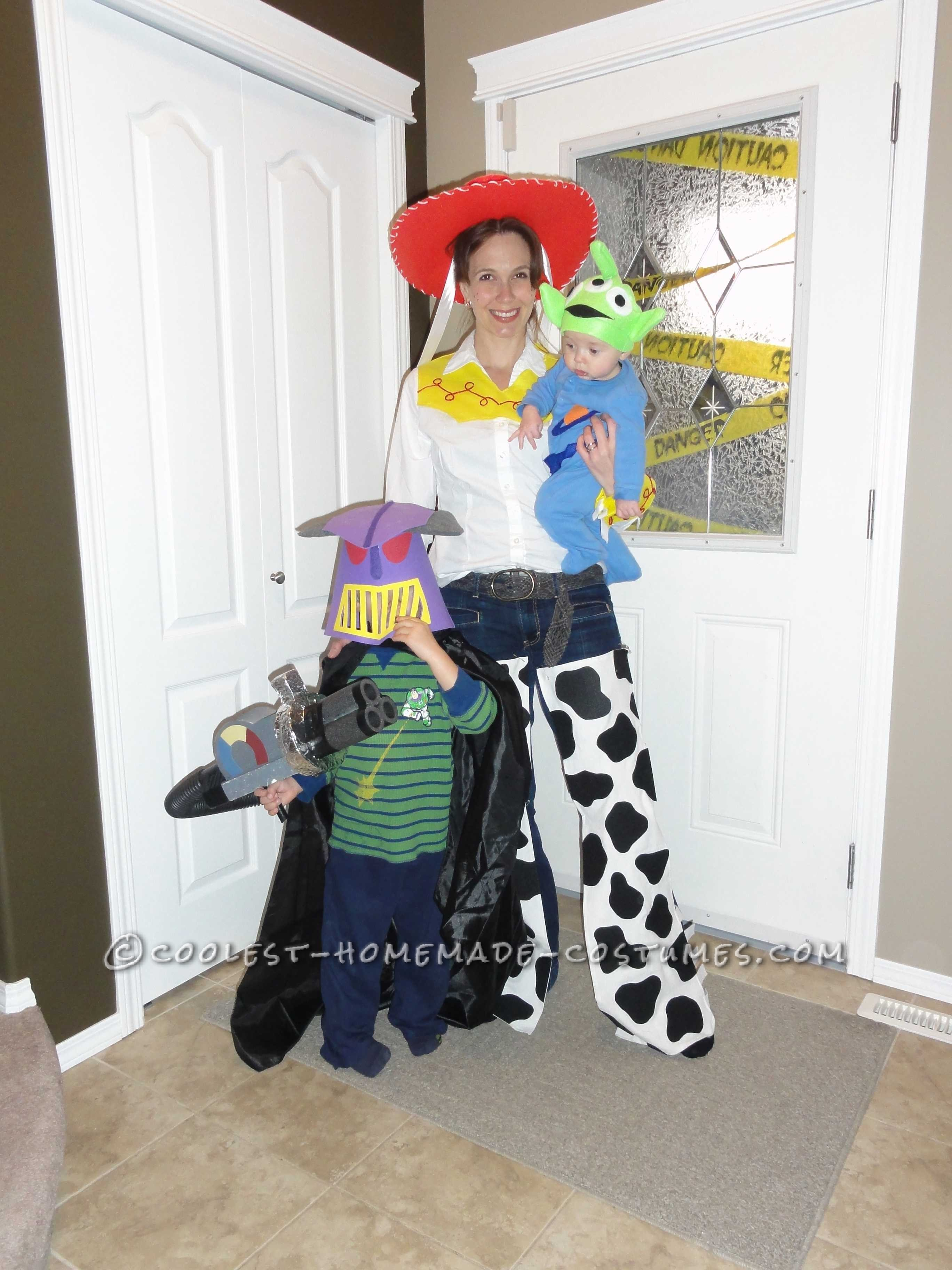 We decided to do a toy story theme last year for Halloween.  My youngest dressed up as the alien. His costumer was made from a blue slee