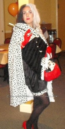 I bought a plain black dress, stuffed dalmation toy, and red heels from the local thrift store. I found the dalmation fabric at a local craft st