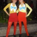 This costume was actually from 2009. We went to our local Goodwill and bought red skirts, yellow shirts, red baseball caps, white felt and blue felt.