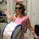 When watching a commercial for Energizer, I made the decision to be the Energizer Bunny for Halloween. The costume was not very expensive to make but
