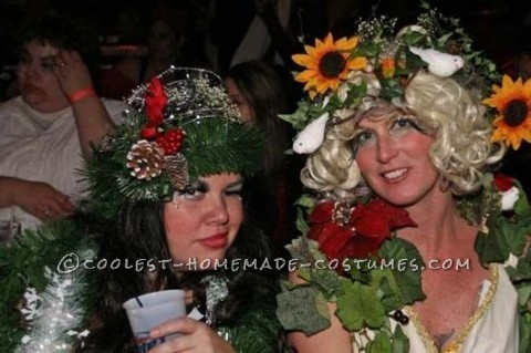 Halloween 2008 we went as trees in each season along with Mother Nature and Father Time.<br /> Mother nature wore an old dress and accesorized with craft