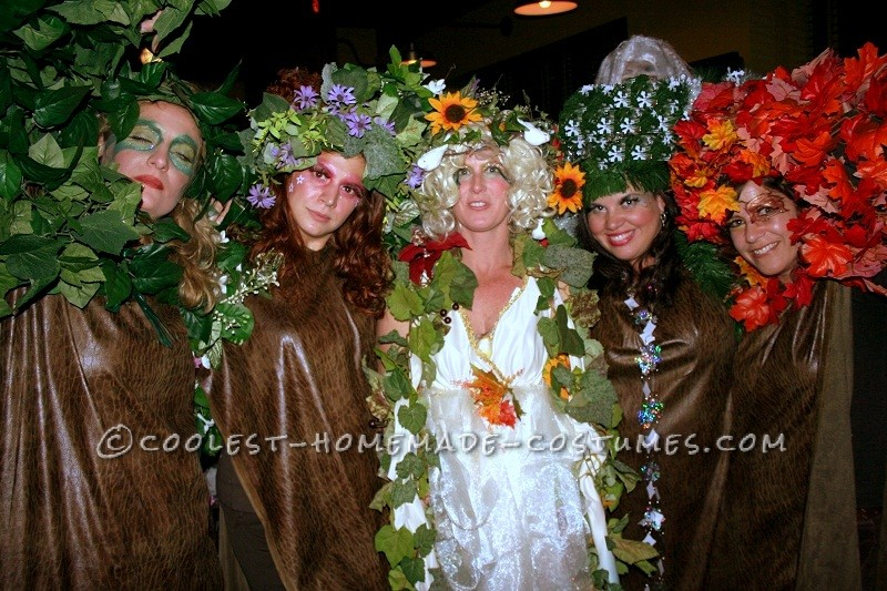 Halloween 2008 we went as trees in each season along with Mother Nature and Father Time. Mother nature wore an old dress and accesorized with craft