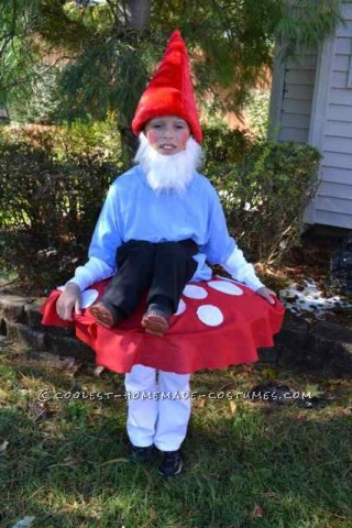 Garden Gnome sitting on top of a mushroom<br /> <br /> My son wanted to be a garden gnome. We started looking for ideas and came up with him sitting on a