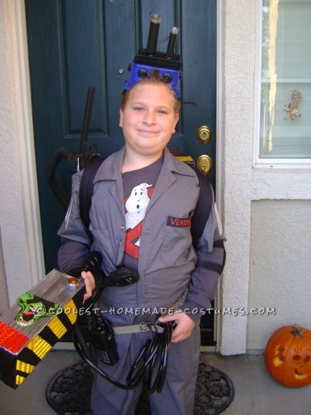 I made this ghostbuster costume for my son, It took about a week. starting with a large cardboard box, ataching things from garage and house..such as