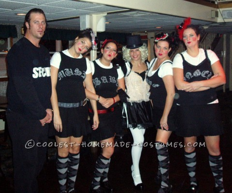In 2005 we went as Gwen Stefani andher Harajuku Girls with our own Security guard, of course.For Gwen, I bought a Malice in Wonderland costum