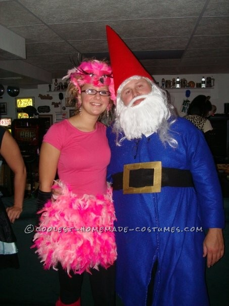 I was a pink flamingo and my boyfirend was a garden gnome- the Travelocity gnome to be exact. My costume was pnk boas sewed to cover a shirt sk