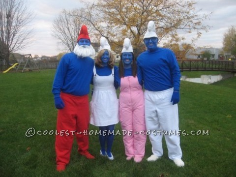 Meet the Smurfs, from Left to Right. Papa Smurf, Smurfette, Sassette Smurfling, Brainy Smurf. We love to make our own costumes, so we were able to ma
