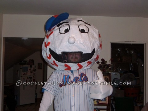 I am a huge Mets fan, I know I know.  So I decided to be Mr. Met. It was a pretty easy costume to make, but if I were to do it again i would tak